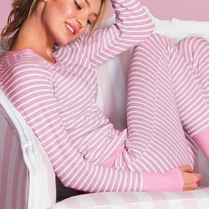 B2G1 Victoria's Secret Striped Thermal LS PJ Top